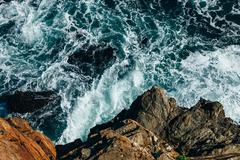 Elevated view of the Pacific Ocean and cliffs, Pichilemu, Chile - stock photo