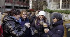 Christmas market, women having fun Stock Footage