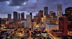 Illuminated High Rise Buildings at Night, Houston, USA Kuvituskuvat