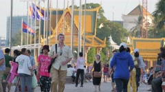 People walking along riverside walk ,Phnom Penh,Cambodia Stock Footage