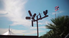 Rotary vane for measuring wind speed on the roof Stock Footage