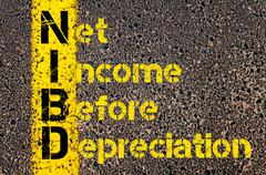 Business Acronym NIBD as Net Income Before Depreciation - stock photo