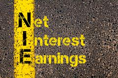 Business Acronym NIE as Net Interest Earnings Stock Photos