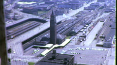 Seattle King Street Train Station Train-yard 1960s Vintage Film Home Movie 8704 Stock Footage