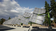 Trackers Solar Panels - stock footage