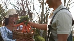 Happy young couple with box of vegetables Stock Footage