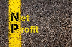 Business Acronym NP as Net Profit Stock Photos