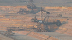 4K UHD TL Gigantic Bucket Wheel Excavator conveor belt lignite strip mining pit Stock Footage