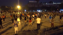 Citizen are dancing at square in emei city,sichuan,Chinese square dance Stock Footage