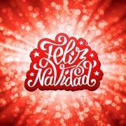 Feliz navidad lettering. Merry Christmas greetings Stock Illustration
