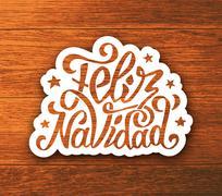 Feliz navidad hand lettering sticker on wood Stock Illustration