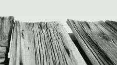 Grey old wooden rustic table motion backdrop, white background Stock Footage