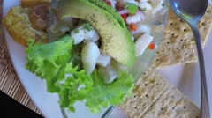 Panoramic of a Caribbean dish of ceviche Stock Footage