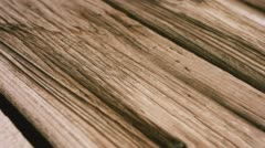 Old wooden plank surface, aged wood texture macro 4k Stock Footage