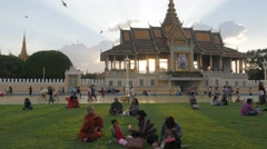 People sitting in Royal palace park in afternoon,Phnom Penh,Cambodia Stock Footage