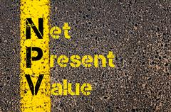 Business Acronym NPV as Net Present Value - stock photo