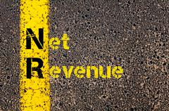 Business Acronym NR as Net Revenue Stock Photos