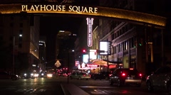 Playhouse Square, Cleveland, Ohio, Night Stock Footage