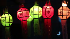 Paper lanterns in Yee-peng festival ,ChiangMai Thailand Stock Footage