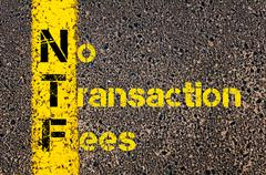 Accounting Business Acronym NTF No Transaction Fees - stock photo