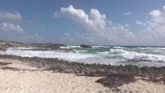 Beautiful Cozumel Mexico beach surf shore 4K Stock Footage