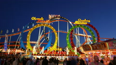 Stock Video Footage of 4K UHD TL Skyline Oktoberfest Fairground Roller-Coaster German Munich Beer