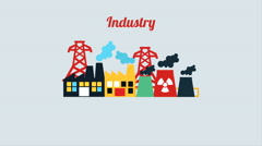 Factory and Industry design, Video Animation Stock Footage