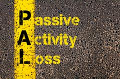 Accounting Business Acronym PAL Passive Activity Loss - stock photo