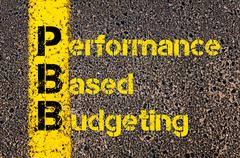 Accounting Business Acronym PBB Performance Based Budgeting - stock photo