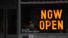 Now Open Neon Sign Display in Manhattan New York Stock Video Stock Footage