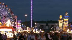 Stock Video Footage of 4K UHD TL Skyline Oktoberfest Fairground Bavaria Status German Munich Beer
