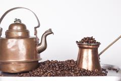 cezve or ibrik and vintage kettle - stock photo