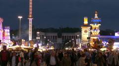 4K UHD TL Skyline Oktoberfest Fairground Bavaria Status German Munich Beer Stock Footage
