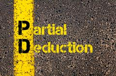 Accounting Business Acronym PD Partial Deduction Stock Photos