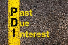 Stock Photo of Accounting Business Acronym PDI Past Due Interest