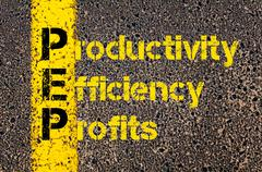 Accounting Business Acronym PEP Productivity Efficiency And Profits - stock photo