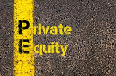 Stock Photo of Accounting Business Acronym PE Private Equity