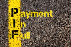 Stock Photo of Accounting Business Acronym PIF Payment In Full