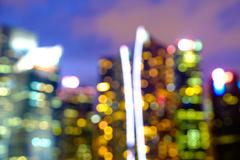 Blurred abstract background lights, beautiful cityscape view - stock photo