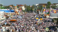 Stock Video Footage of 4K UHD Skyline Oktoberfest crowded crowds Fairground German Munich Beer Festival