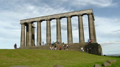 Edinburgh, Scotland -Calton Hill Parthenon Structure National Monument. Stock Footage