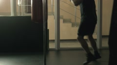 The man practices boxing - stock footage