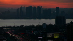 Sun Setting on the Gardiner Expressway in Toronto Stock Footage