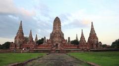 Wat Chaiwatthanaram of  Ayutthaya Historical Park, Asia Thailand. Stock Footage