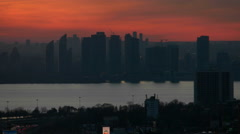 Toronto Humber Bay Skyline at Sunset Stock Footage