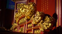 Decoration of golden royal emperor Chair,beijing,china Stock Footage