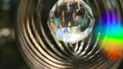 Spiral crystal rainbow artefact for meditation Stock Footage