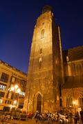 St. Elizabeth's Church Tower at Night in Wroclaw - stock photo