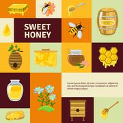Sweet Honey Icons Set - stock illustration