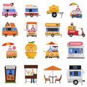 Street Food Icons Set Stock Illustration